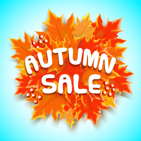 Autumn sale text banner with colorful seasonal fall leaves in blue background for shopping discount promotion. Vector illustration.