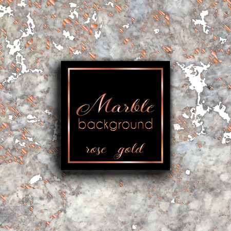Card with  marble texture and rose gold. Abstract modern background. Vector template for card, invitation, business, vip, flyer, logo, brochure. Good for stylist, designer, makeup artist, photographer 矢量图像