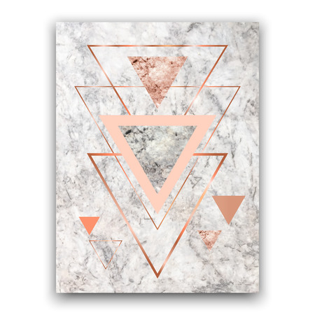 Marble background with rose gold triangles. Geometric print for your card, template, business, brochure. Trendy poster for textile, fabric, web, wallpaper, poster, home design, office design