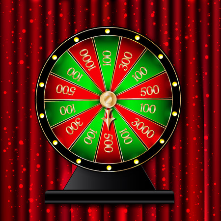 Wheel of fortune on red curtains  background. Vector illustration Stock Illustratie