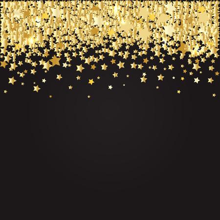 Abstract pattern of random falling gold stars on black backdrop. Illustration