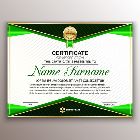Beautiful certificate template design with best award symbol in green edges vector illustration Illustration