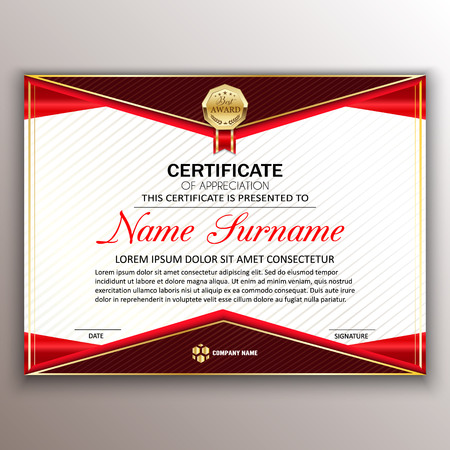 Beautiful certificate template design with best award symbol in red edges vector illustration