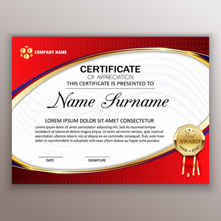Beautiful certificate template design with best award symbol. Vector  Çizim