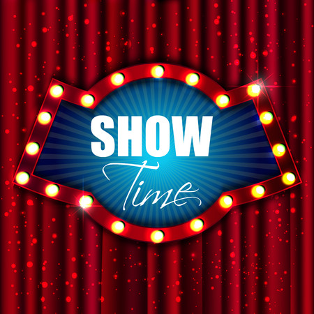 Show time. Retro light sign. Vintage style banner. Vector illustration Stock Illustratie