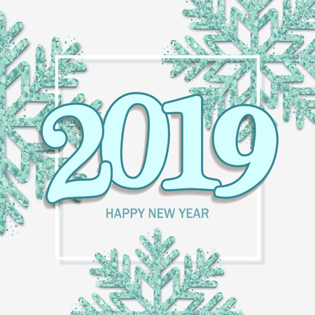 happy new year design white background with 2019 and shining blue snowflakes vector illustration stock