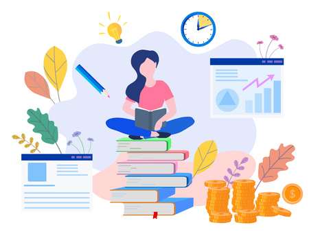 Concept Education, formation en ligne, étude sur Internet, livre en ligne, tutoriels, e-learning pour les médias sociaux, documents, cartes, affiches. éducation à distance Illustration vectorielle éducation en ligne