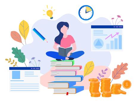 Educación conceptual, formación en línea, estudio de Internet, libro en línea, tutoriales, e-learning para redes sociales, documentos, tarjetas, carteles. educación a distancia ilustración vectorial educación en línea