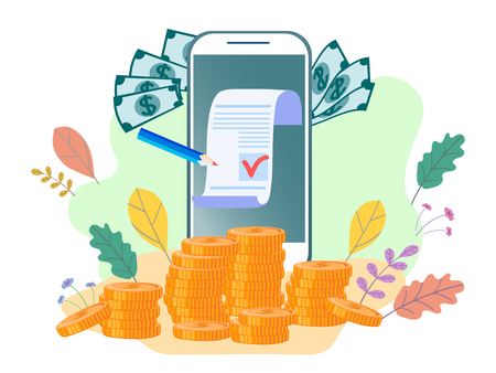 Flat illustration, Concept for web page, banner, presentation, social media, documents, cards, posters.banking, electronic mobile payment, notice of paymet. Vector Ilustração Vetorial