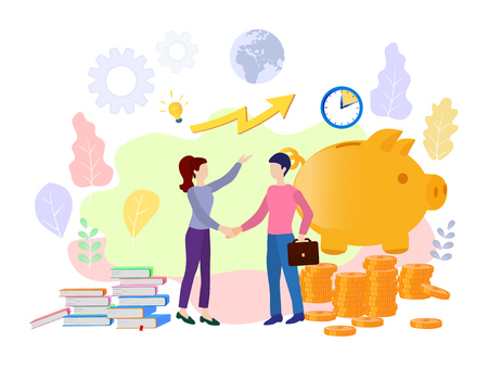 Vector business illustration on white background. business porters a successful team. The investor holds money in ideas. financing of creative projects. woman and man business handshake