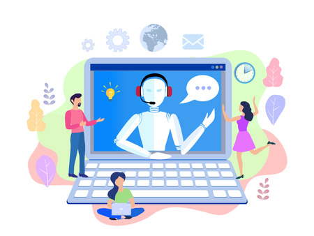 Vector illustration, customer service, chatbot hotline operator advises client, online global technical support 24-7, customer and robot operator. Artificial intelligence consulting people Stock Illustration - 111237051