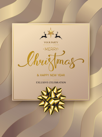 Merry Christmas winter holiday greeting card design template. Party poster, banner or invitation. Luxury Vector background with golden gift bow Banque d'images - 119004101