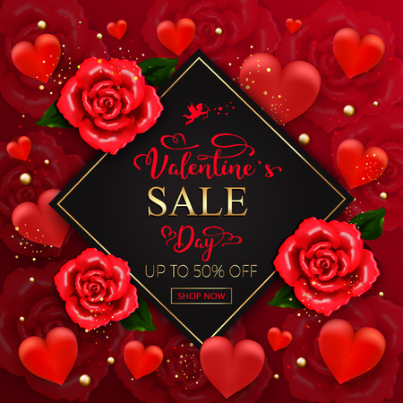 Valentines day sale background with hearts, roses, gold bubbles, sparkles on red background. Vector illustration. Wallpaper.flyers, invitation, posters, brochure, banners Vectores