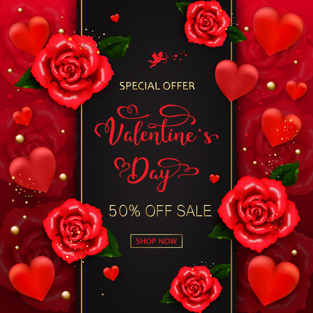 Valentines day sale background with hearts, roses, gold bubbles, sparkles on red background. Vector illustration. Wallpaper.flyers, invitation, posters, brochure banners