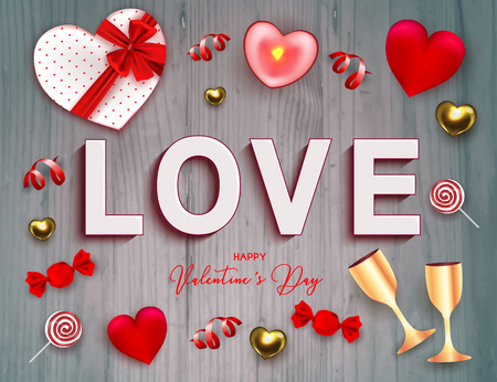 Happy Valentine's Day holiday web banner. Vector illustration with text LOVE, candy, 3D hearts, candle, gold glasses of champagne, red serpentine and confetti on gray wooden backround