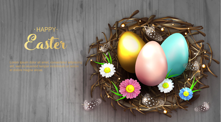 Happy Easter holiday greeting banner. Beautiful background with realistic wicker nest, pink, blue and golden eggs, spring flowers and chicken feathers on grey wooden background. Vector illustration
