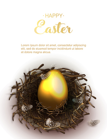 Happy Easter holiday greeting banner. Beautiful background with realistic wicker nest and golden egg fand chicken feathers on white background. Holiday vector illustration