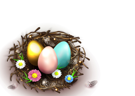 Happy Easter holiday greeting banner. Beautiful background with realistic wicker nest, pink, blue and golden eggs, spring flowers and chicken feathers on white. Vector illustration Illustration