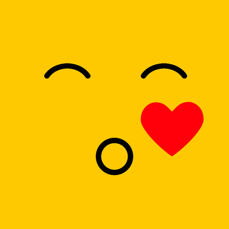 Smile cartoon line emoticon blowing a kiss, emoji face on yellow vector design background