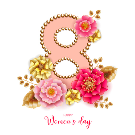 8 March. Floral Greeting card. International Happy Womens Day. Paper cut flower holiday background. Trendy Design Template. Vector illustration