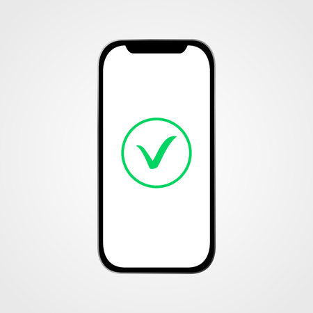Smartphone with green check icon. Vector illustration Illustration