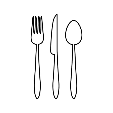 Spoon, fork and knife icon. Vector illustration