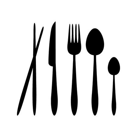Silhouette vecteur cuillère, fourchette, couteau et baguettes couverts sur le restaurant signe symbole icône Logo Template Design Inspiration Logo