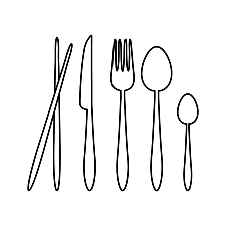Silhouette Vector Spoon, Fork, Knife, and Chopsticks Cutlery on the Restaurant Sign Symbol Icon Logo Template Design Inspiration Stock Vector - 119765503