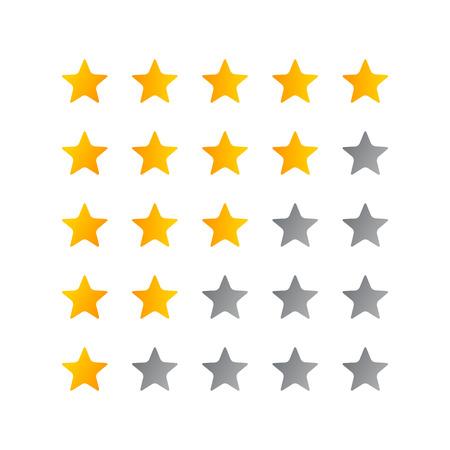Illustration vectorielle de l'icône de notation 5 étoiles. Badge isolé pour site Web ou application - infographies en stock Vecteurs