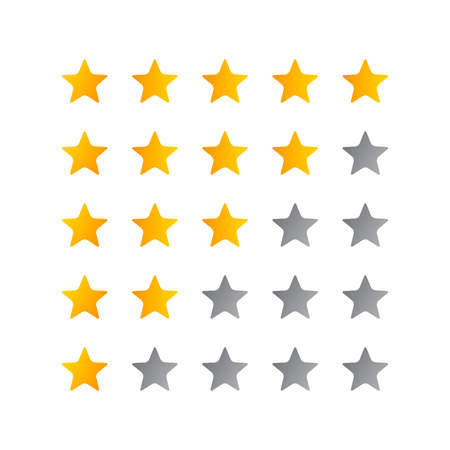 5 star rating icon vector illustration. Isolated badge for website or app - stock infographics