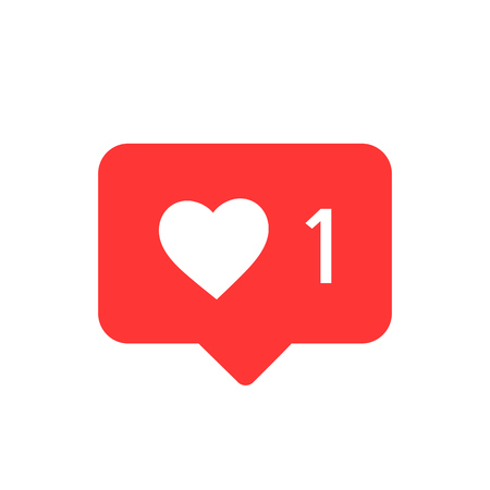 Notifications icon. Like icon vector. social media Like vector icon. Instagram like notification Illustration