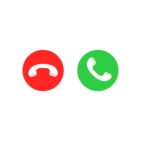 Telefonanrufsymbole. Anruf annehmen und ablehnen. Grüne und rote Tasten mit Handset-Silhouetten. Vektorikonen eingestellt lokalisiert auf weißem Hintergrund