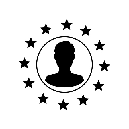 Stars of the European Union man silhouette inside. Brexit concept. Vector
