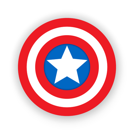 Colorful shield with a star. Shield, emblem captain america. Blank superhero badge. Vector illustration