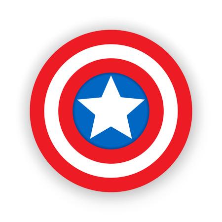 Escudo colorido con una estrella. Escudo, emblema capitán américa. Insignia de superhéroe en blanco. Ilustración vectorial