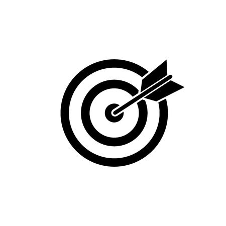 Target Icon vector black illustration Çizim