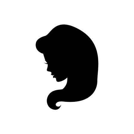 Beautiful silhouette hair girl Иллюстрация
