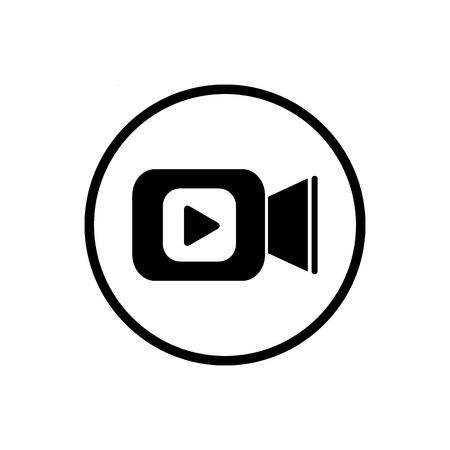 Icona della videocamera in stile piatto. Illustrazione di vettore del gioco di film su fondo isolato bianco. Concetto di business di streaming video