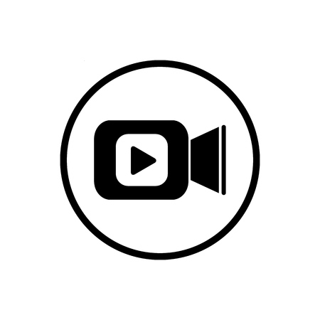 Video camera icon in flat style. Movie play vector illustration on white isolated background. Video streaming business concept Çizim