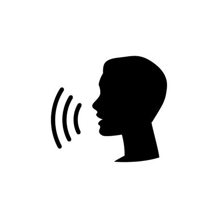 Icono de control de voz. Habla o habla icono lineal de reconocimiento, comando de habla y habla, comandante de sonido o cabeza de dictador de voz, ilustración vectorial