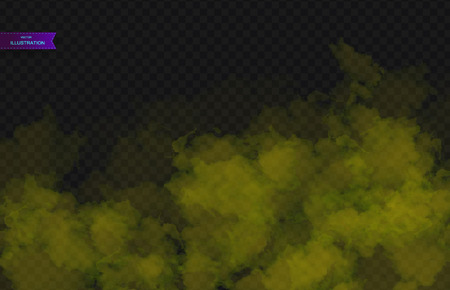 Yellow Fog or smoke color isolated transparent special effect. White vector cloudiness, mist smog background. Vector illustration