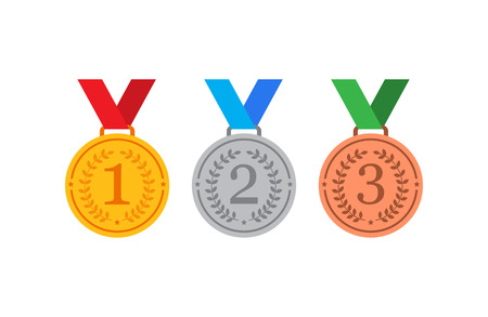 Gold, silver and bronze medals with blue ribbon flat vector icons for sports apps and websites