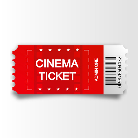 Red cinema ticket isolated on white background. Vector illustration Illustration