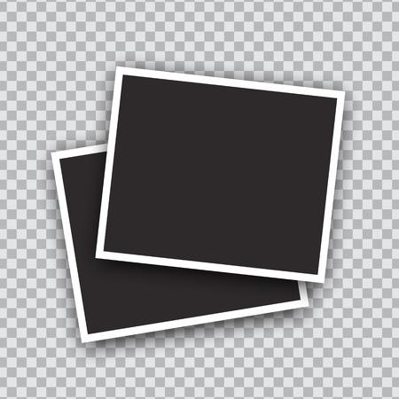Progettazione di mockup di cornici per foto di vettore. Bordo bianco su sfondo trasparente