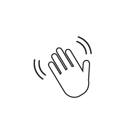 Hand wave  waving hi or hello gesture line art vector icon for apps and websites