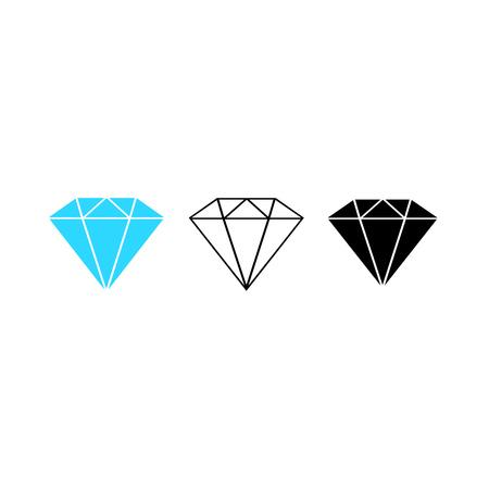 Set of Diamonds icon. Gemstone. Vector