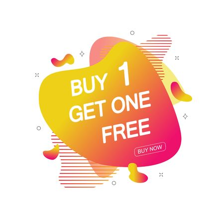 Buy 1 Get One Free sale tag. Banner design template for marketing. Special offer promotion or retail. Vector illustration  イラスト・ベクター素材