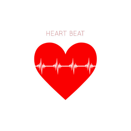 Heart Beat icon in flat style. Stock Vector - 128983717