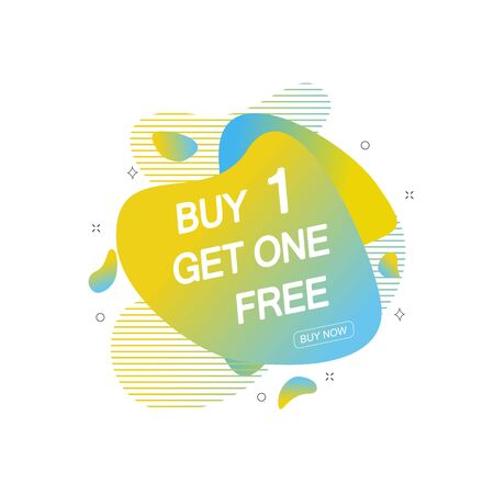 Buy 1 Get 1 Free sale tag. Banner design template for marketing. Special offer promotion or retail. Vector illustration