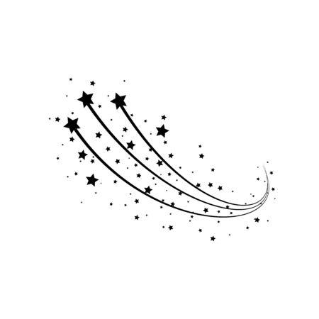 Concepto de estrellas fugaces negras. Cometa, meteoroide, asteroide, símbolos de estrellas. Resumen de estrella fugaz con rastro de estrellas aislado sobre fondo blanco. Ilustración vectorial Ilustración de vector